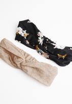 STYLE REPUBLIC - Floral & shimmer lurex headband twinpack - multi