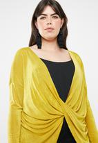 Missguided - Curve drape front long sleeve slinky top - yellow