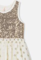 Cotton On - Iris tulle dress - gold & cream