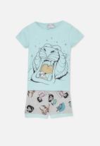 Cotton On - Chloe short sleeve girls pj set - blue