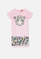 Cotton On - Chloe short sleeve girls pj set - pink