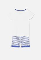 Cotton On - Joshua short sleeve pyjama  - white & blue