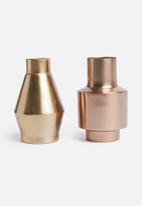 Sixth Floor - Albion vase set - rose gold & copper