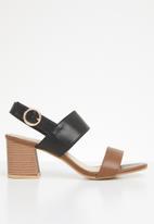 STYLE REPUBLIC - Slingback block heels - brown & black