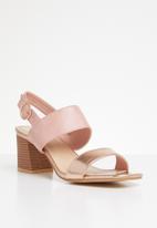 STYLE REPUBLIC - Slingback block heels - rose gold & pink