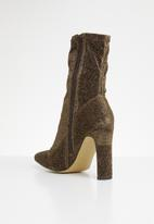 Missguided - Lurex square toe sock boot - bronze