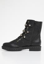 Missguided - Triple strap mid embellish hiker boot - black