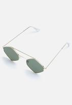 Superbalist - Poppy hexagon sunglasses- gold & green