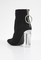 Public Desire - Fierce block perspex heel ankle boot - black