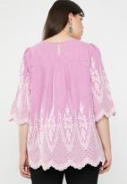 STYLE REPUBLIC PLUS - Anglaise detail blouse - pink