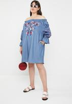 STYLE REPUBLIC PLUS - Paper-bag bardot dress - blue