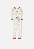 Cotton On - Heidi long sleeve Raglan pj - white & red