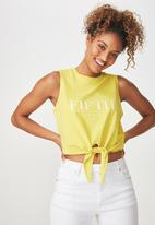 Cotton On - Tbar maeve tie front tank - yellow