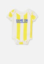 Cotton On - Mini short sleeve bubby-suit - white & yellow