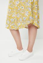 edit Plus - Pleat detail midi skirt - yellow & white