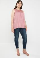 edit Plus - Lace inset tank top - pink