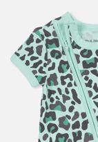 Cotton On - Mini short sleeve zip through romper - turquoise & black