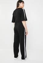 STYLE REPUBLIC PLUS - Stripe short sleeve jumpsuit - black & white