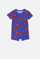 Cotton On - Mini ss zip through romper - blue & red
