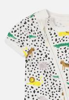 Cotton On - Mini short sleeve zip through romper - white