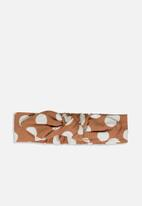 Cotton On - Baby knotted headband - brown & white
