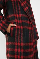 Missguided - Check shawl collar coat - red & black