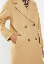 Missguided - Double breasted raw edge cocoon coat - brown