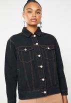 Missguided - Contrast stitch oversized denim jacket - blue