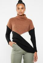Superbalist - Colour block knit - rust black & cream