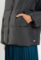 ONLY - Aya short quilted hood jacket - black
