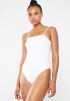 Superbalist - 2 Pack square neck cami bodysuit - white and black
