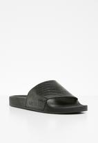 STYLE REPUBLIC - Texture leather slider sandals - black