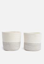 Sixth Floor - Cotton rope storage basket set of 2 - white