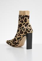 Public Desire - Pioneer stretch square toe leopard stretch ankle boot - multi