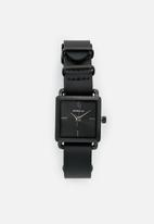 Superbalist - Square face leather watch - black