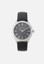 Superbalist - Trace leather strap - black & silver