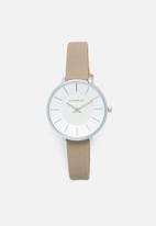 Superbalist - Karen leather watch - beige & silver