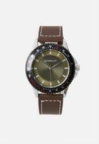 Superbalist - Connor stitch detail leather watch - brown