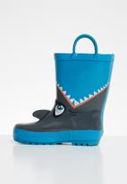 POP CANDY - Shark rain boot - blue & grey