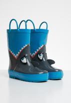 POP CANDY - Shark rain boot - blue & grey