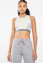 South Beach  - Coffee cream cross back gym top - grey & neutral
