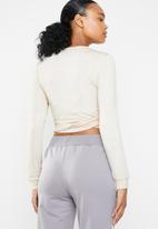 South Beach  - Coffee cream dance soft knit wrap cardigan - neutral
