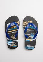 POP CANDY - Printed flip flops - black & blue