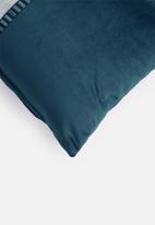 Hertex Fabrics - Ribbon trim cushion cover - peacock