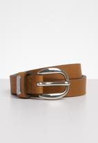 POLO - Leather Bailey belt - tan