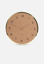 Present Time - Modest cork wall clock - gold