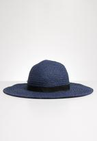 Joy Collectables - Bow detail straw hat - navy