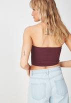 Cotton On - Samantha seam free rib tube top - burgundy