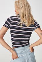 Cotton On - Nadine zip front short sleeve tee - multi