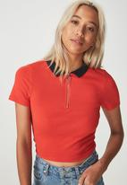Cotton On - Nadine zip front short sleeve tee - red